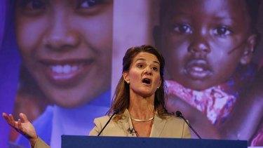 Melinda Gates speaks at the London Summit on Family Planning.