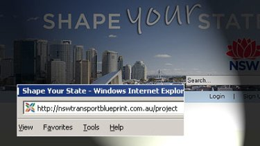 The government site they didn't want you to see ... all a reader had to do was type http://nswtransportblueprint.com.au/project into their computer's address bar and tap 'enter'. Some hack.