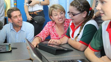 Cameron Dick with Anna Bligh at a Mackay school during the 2012 Queensland election campaign.