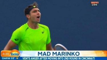 Marinko Matosevic has a meltdown at the Cincinnati Masters, taken from a TV screengrab.