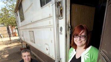 Getting back on her feet ... homeless blogger Brianna Karp in her RV with her boyfriend Matthew Barnes.