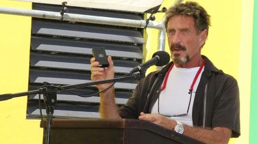 On November 8 just days before the murder John McAfee speaks at the official presentation of equipment ceremony that took place at the San Pedro Police Station.