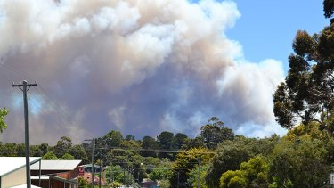 Pictured from outside the Margaret River fire station, smoke billows from the Ellensbrook fire burning towards Prevelly. Photo: Augusta-Magaret River Mail