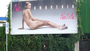 Isabelle Caro in the billboard that sparked controversy.