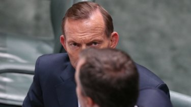 Prime Minister Tony Abbott and Justice Minister Michael Keenan during Question Time on Monday.