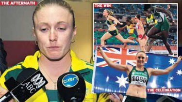 Distraught ... Sally Pearson after learning of the panel's decision to strip her of the 100 metres gold medal; top right, crossing the line first; and celebrating with the flag before the farce unfolded.
