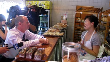 Campbell Newman meets with shopkeepers in Brisbane's northwest.