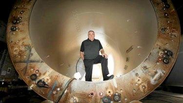 Keppel Prince CEO Steve Garner in front of unused turbine.