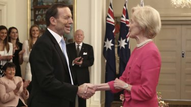 Tony Abbott is sworn in as Australia's 28th Prime Minister by Governor-General Quentin Bryce.
