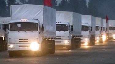 Humanitarian aid trucks leave Moscow for eastern Ukraine.