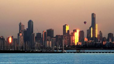 A dawn view of the Melbourne city skyline from Green's Point, Brighton.