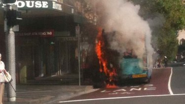 Bus fire ... it was ablaze on Oxford Street.