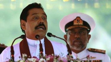 President Mahinda Rajapaksa, with former admiral Thisara Samarasinghe, now Sri Lanka's high commissioner to Australia.
