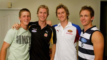 Left to Right: Scott, Adam, Troy and Joel Selwood at their family home in Bendigo.