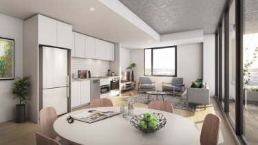 The cluster communal living spaces will be similar to this student housing accommodation in Adelaide.