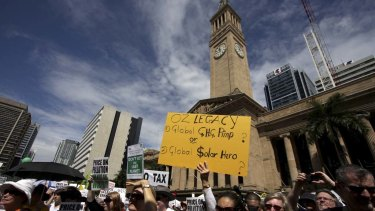 Call for action ... protesters  gather at King George Square in Brisbane yesterday in support of action to combat climate change.