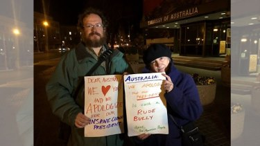Americans apologising at the Australian embassy in Washington DC.
