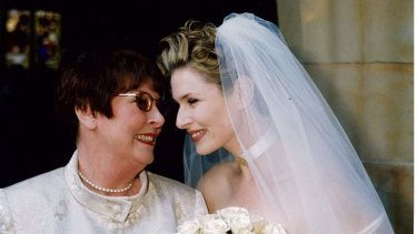 Emma Macdonald on her wedding day with her mother Valerie Macdonald in 1999.