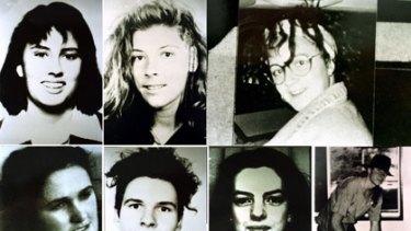 Milat's murder victims (from top, left to right) Deborah Everest, Australia; Anja Habschied, Germany; Simone Schmidl, Germany. (From bottom, left to right) Joanne Walters, UK; Gabor Neugebauer, Germany; Caroline Clarke, UK; James Gibson, Australia.