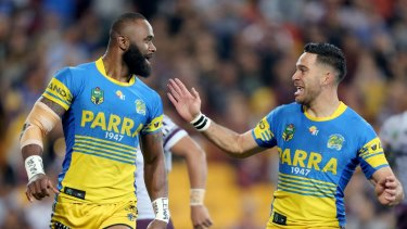 Unstoppable: Semi Radradra and Corey Norman celebrate another try to the winger.