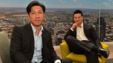 Michael Mai and Matthew Khoo, of ICD Property, and the proposed views from Eq Tower.