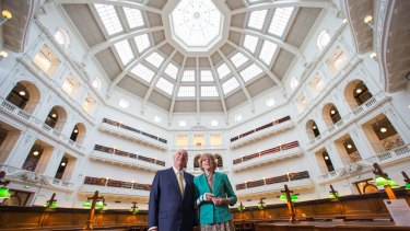 Allan Myers, QC, pictured with wife Maria Myers, in the ''beautiful'' domed reading room he discoverd as a law student in 1965. The couple are donating $3 million to the library's Vision 2020 redevelopment appeal.