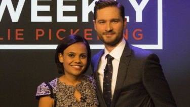At ease: Miranda Tapsell with Charlie Pickering.