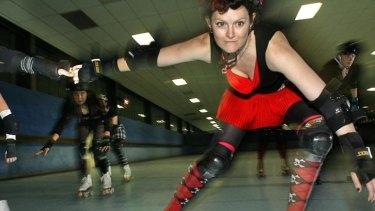 Whipping it: A roller derby team in action.