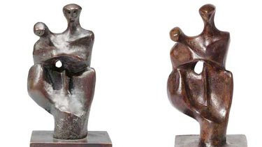 The Henry Moore sculpture on the left fetched $72,000 at auction in New York, while the one on the right has been withdrawn from sale in Melbourne.
