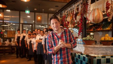 Chef Jamie Oliver at one of his Australian restaurants in 2014.