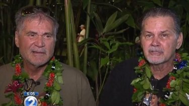 Alan Robinson and Walter Macfarlane are interviewed in Honolulu on television news station KHON.