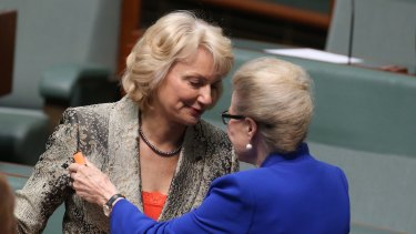 Outgoing Liberal MPs Sharman Stone and Bronwyn Bishop.