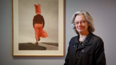Pat Brassington with a piece called <i>By the Way</i> at the Tasmanian Museum and Art Gallery.