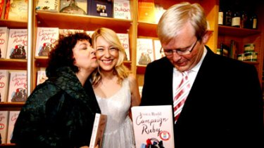 Ruby Tuesday ... Therese, Jessica and Kevin Rudd at yesterday's launch of 'Ruby Tuesday'.