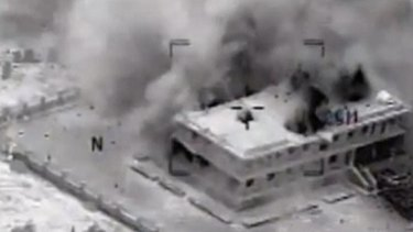 Raw footage video shows US-led airstrikes in Syria against targets linked to Islamic State fighters.
