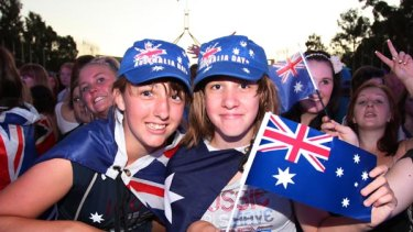 Kelsey and Ebony White soak up the atmosphere at last night's Australia Day concert in Canberra.