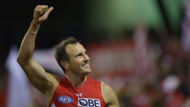 Swan Jude Bolton celebrates after defeating the Western Bulldogs.