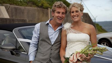 Shark attack victim Jon Hines and wife Bridget on their wedding day.