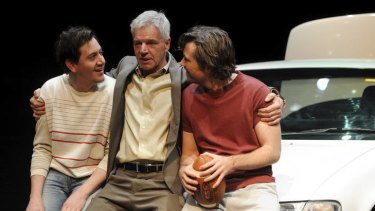 Hamish Michael, Colin Friels and Patrick Brammall in Belvoir's production of Death of a Salesman.