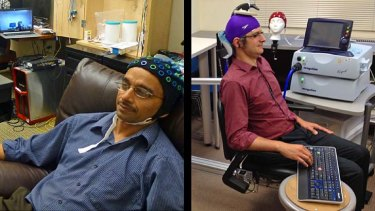 """Rajesh Rao, left, plays a computer game with his mind. Across campus, researcher Andrea Stocco, right, wears a magnetic stimulation coil over the left motor cortex region of his brain. Stocco's right index finger moved involuntarily to hit the """"fire"""" button as part of the first human brain-to-brain interface demonstration."""