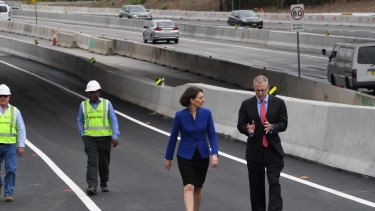 NSW Premier Gladys Berejiklian and Federal Urban Infrastructure Minister Paul Fletcher opening an early section of WestConnex at Homebush.