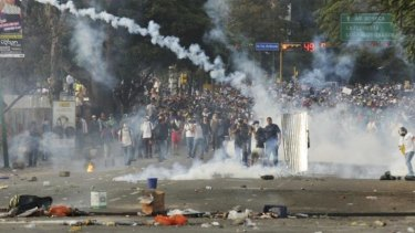 Turmoil: protesters on the streets of the capital on February 22.