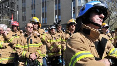 MFB and CFA firefighters rally in Melbourne.