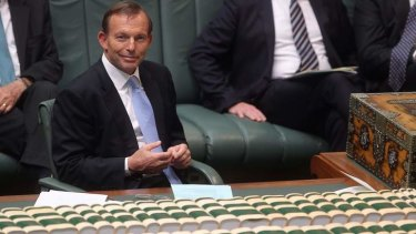 Prime Minister Tony Abbott takes the chair in the new Parliament.