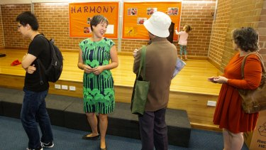 Newtown Greens candidate Jenny Leong  waiting to vote at Darlington Public School.