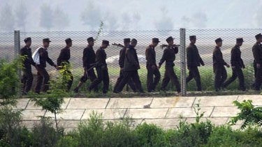 The closely guarded border between North Korea and China .