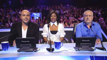 Found dead ... Jay Dee Springbett, left, pictured with fellow Australian Idol judges Marcia Hines and Ian Dickson.