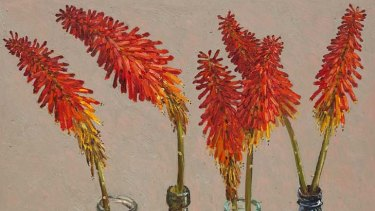 Violet femme ... <em>Red Hot Poker</em> from Lucy Culliton's new show <em>Bibbenluke Flowers</em>.
