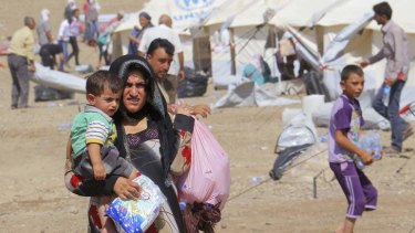 Syrian refugees who fled the violence in Syria at a refugee camp in Arbil, north of Baghdad.