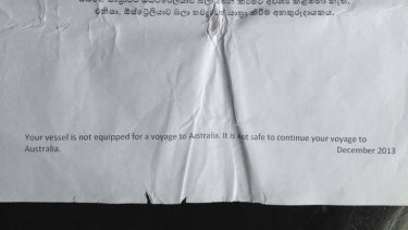 Documents the  asylum seekers say were given to them by the Australian Customs officer.
